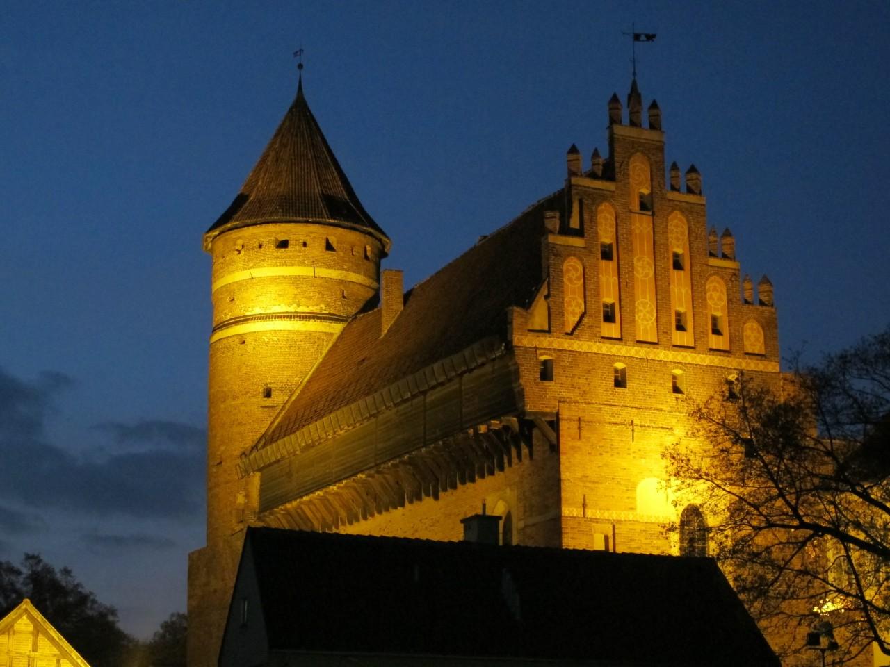 Burg in Olsztyn bei Nacht